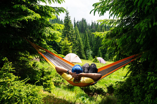 Lying in a hammock in nature
